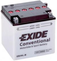 Motobaterie EXIDE 12V 30Ah 300A EB30L-B, YB30L-B
